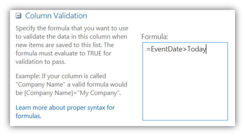 Column Validation using variable TODAY