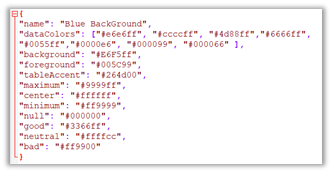 JSON file to modify the Waterfall and KPI colors