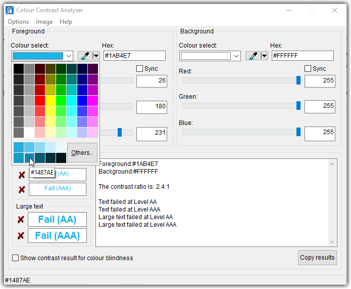 Colour Contrast Analyser dialog showing how you can test the contrast of other color combinations